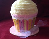 Faux/Fake cupcake box—yellow and pink with clay flowers on top; memento box; birthday gift; party favor