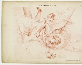 Angel Print,  Cherubs, French Lithographs