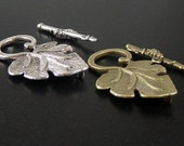 Toggle Clasp 2 Sets Antique Bronze OR Silver CHOICE Leaf Grapes Flower Victorian Large 36mm (1055cla36m1)