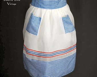 Vintage Hostess Apron Crisp Organdy Red White Blue Gingham Rickrack