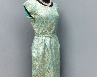 1950s/60 Gold Lame and Turquoise Wiggle Dress / Hourglass Cocktail Dinner Dress