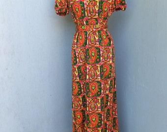 Vintage MAXI Dress, 1970s, Lanz Originals, Boho, Hippie, Peasant look Cotton Dress, Long Gypsy, 34 or 86 cm
