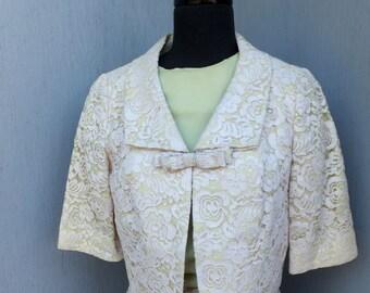 Vintage 60s 2pc Crochet Lace Wiggle Dressnw/Jacket / Madmen Dress w/Matching Short Jacket / Elbow Sleeves