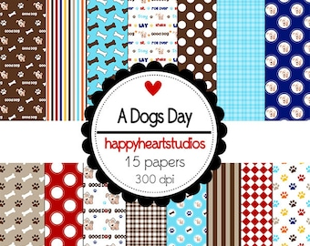 Digital Scrapbook  ADogsDay-INSTANT DOWNLOAD