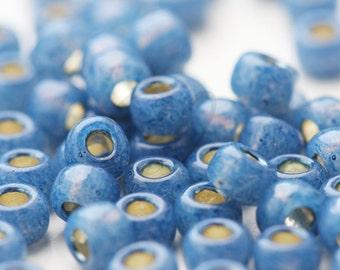 20 Grams Japanese Miyuki 6/0 Seed Bead - Denim Blue Silver Lined Dyed Alabaster - 4mm (6-648)
