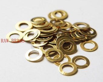 60pcs Raw Brass Flat OPENED Ring - Link - Loop 10x6mm (3029C-W-47)