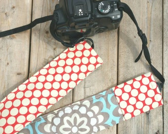 Padded DSLR camera strap cover, reversible padded camera strap cover, slip on strap cover in blue flower with red dots