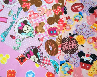 Disney fabric scrap  Minnie Mouse  print 25 cm by 25 cm or 9.6 by 9.6 inches each piece 2016A