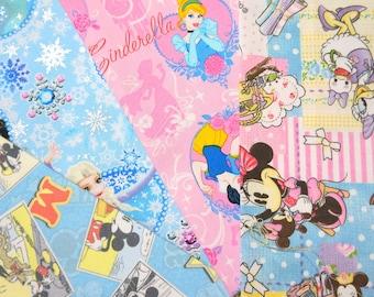 Disney fabric scrap Minnie mouse Disney princess Anna Elsa and mickey mouse 2015Bg