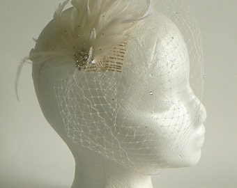 Ivory feather wedge veil - birdcage nose veil - feather clip bridal veil