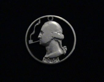 George Washington Puffing a Pipe - cut coin jewelry - 1941 - SILVER