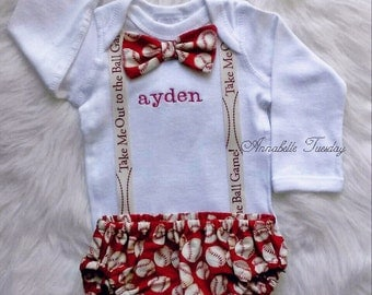 Baseball Diaper Cover and Shirt Set With Suspenders and Bowtie Baby Boy Personalized Outfit Size Newborn to 24 Months