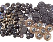 Black buttons Button lot Buttons plastic glass metal Button variety lot Sewing supplies Craft supplies
