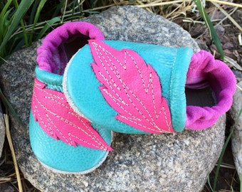 Pink Aqua Feather Soft Soled Leather Shoes Baby and Toddler