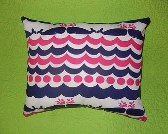 New Pillow made with Lilly Pulitzer Whales and Tails fabric