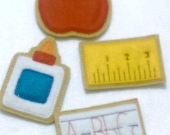 Back to school felt cookies -Felt play pretend cookies - glue, apple, ruler,  paper - party favor - school party favor - #1001