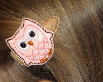 Pink Owl on Brown Hair clip Hair barrette #143