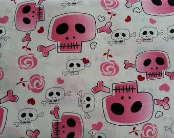 Robert Kaufman Bad to the Bone Girly Skull fabric by the yard