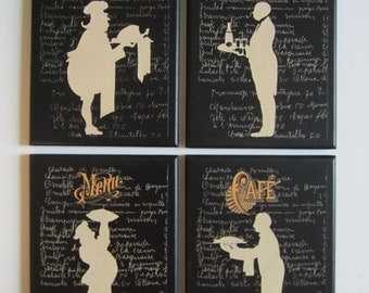 Chef Silhouettes, 4 kitchen wall decor plaques, black & white pictures, chefs and waiters