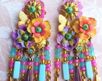 Hot Pink and turquoise flowers bohemian  romantic earrings