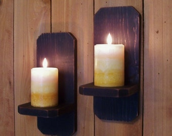 Primitive Sconce Pair Candle Holders Farmhouse Style Shabby Chic Colonial or Modern / Lamp Black Color Choice