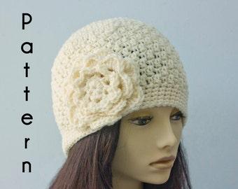 Flower Hat Crochet Pattern, Instant Download, Cloche Hat PDF Pattern, Winter Hat Pattern
