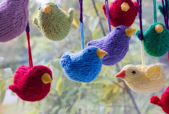 Knitted Bird Pattern : DIY Holiday Ornament Bird Knitting Pattern Amigurumi by beadedwire