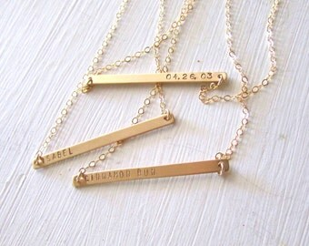 Skinny Nameplate Necklace, Personalized Necklace, Gold Initial Bar, Customized Name Necklace, Gold Bar Necklace, Rose Gold Bar Necklace