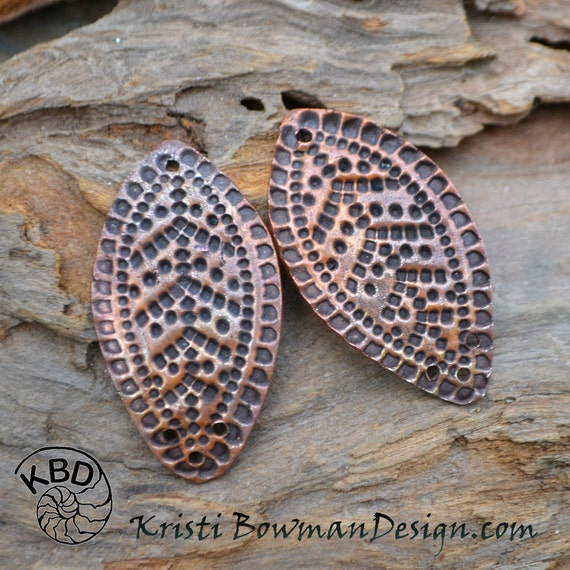 PRE ORDER Handmade Copper 3 hole Leaf pair