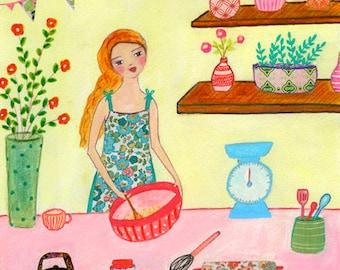 Baking Cakes Painting, Art Print on Wood, Pastel Retro Vintage Look Kitchen, Baking Illustration