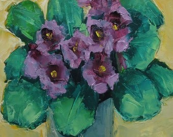 AFRICAN VIOLET FLOWER Floral Art Giclee print from my original oil painting