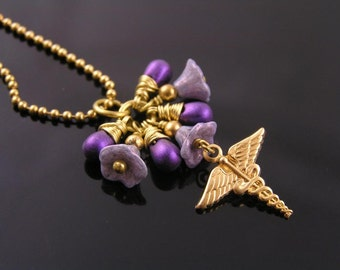 Caduceus Necklace with Purple Flowers and Drops, Caduceus Jewelry, Golden Necklace with Czech Glass Flowers and Caduceus Charm