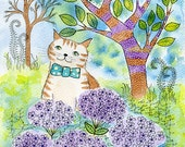 Verbena Delight. Art print from my watercolour painting, wall art, A4