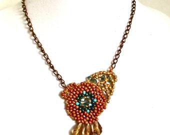 Women vintage looking handmade beaded pendent, boho jewelry necklace