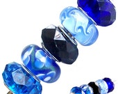 MERZIEs 5 silver lampwork glass faceted acrylic crystal European Charm large hole spacer beads - baby royal midnight blue black white