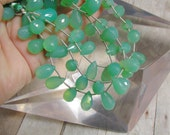 Glowing Chrysoprase Briolette Beads  Many Possibilities For Earring Matched Pairs Last Strand