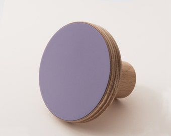 Wooden colourful knob, for cabinets, kitchen cupboard doors, lilac