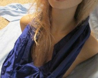 SALE - Royal Blue Silk Fabric Cowl/Circle Scarf/Infinity Scarf (4648)
