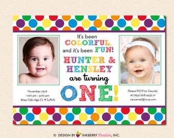Rainbow Polka Dot TWINS Birthday Party Invitation (Digital File OR Cardstock Printed Cards Also Available)