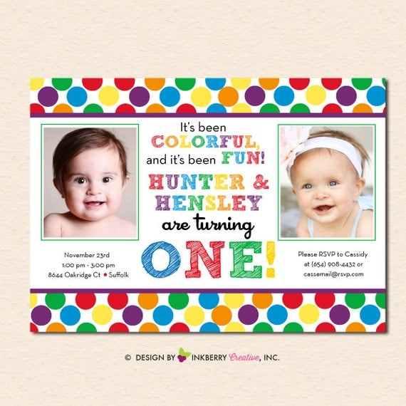 Rainbow Polka Dot TWINS Birthday Party Invitation Digital