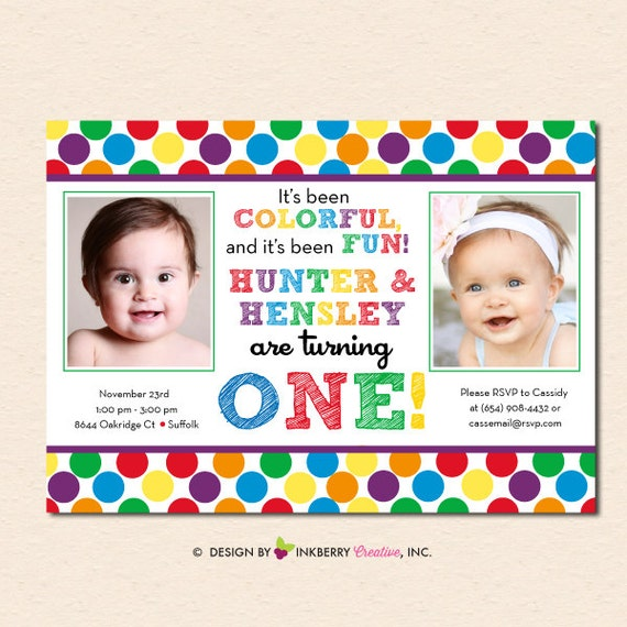 Rainbow Polka Dot TWINS Birthday Party Invitation Digital File OR - Birthday invitation cards twins