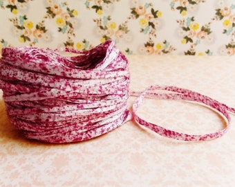 Raspberry Cream Speckled Mako Cotton pink Ribbon ~European dotted trim egyptian baby kids wedding hair bow band supply, gift wrap favor