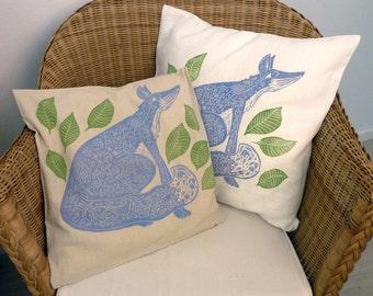 cushion covers, set of 2, decorative pillow covers, linocut, fox, blue, white, beige, green, home interior, nursery decoration, folk art