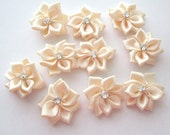 10 Pieces Of Cream Color Satin Ribbon Flowers