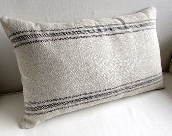 FRENCH LAUNDRY 16x26 Pillow cover BLACK Stripes