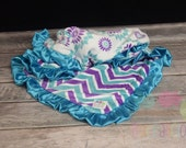 Teal and purple Chevron and floral minky blanket with Satin Ruffle