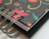 Mini Weekly Organizer-Planner-Agenda includes Address Book with Colorful Paisley, Black & Turquoise Floral Bird Cover