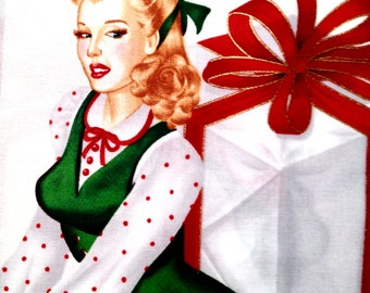 Holiday On Ice Christmas Pinup Girls Cotton Fabric REMNANT