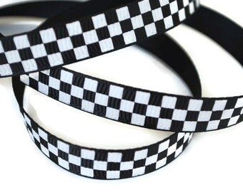 Race Car Ribbon, Checkerboard Ribbon, Finish Line Ribbon, Checker Board Ribbon, Checkered Flag Ribbon, Racing Ribbon, Finish Flag Ribbon