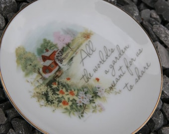 CULTIVATING FRIENDSHIP: Vintage 1976 Small Collectible American Greetings Porcelain Plate All the World's a Garden Meant for Us to Share